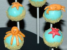 Under the Sea cake pops one dozen assorted. $40.00, via Etsy.
