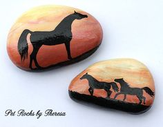 Set of Two Hand Painted Stones Arabian Horse Sunset Silhouette Decorative Rocks by PetRocksbyTheresa on Etsy