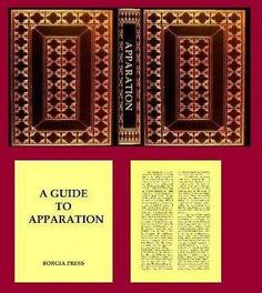 APPARATION is 32 pages long (including the fly leaves). It measures 7/8 inch (22.225 mm) high by 5/8 inch (15.8750 mm) wide by 3/16 inch (4.7625 mm) think. There are no illustrations.