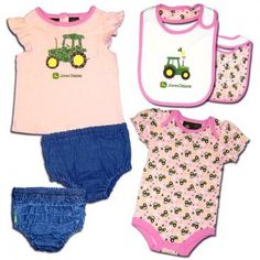 Infant 4-piece Denim Tractor Pink Layette Set 0-3 Months