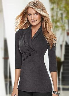 Angled buttons create an interesting look! Venus button detail sweater.