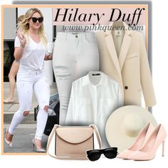 Hilary Duff dressed in all white on March Hilary Duff, Carven, The Duff, All White, Frame Denim, River Island, White Jeans, March, Street Style