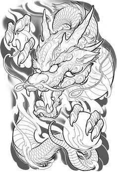 25 trendy tattoo dragon full back tat Dragon Tattoo Drawing, Asian Dragon Tattoo, Dragon Tattoos For Men, Dragon Sleeve Tattoos, Japanese Dragon Tattoos, Japanese Tattoo Art, Japanese Sleeve Tattoos, Dragon Tattoo Full Back, Samurai Tattoo Sleeve