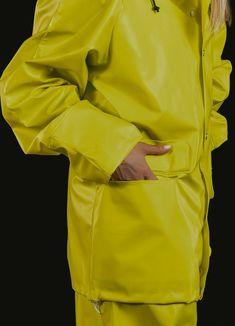 Rain Suit, Yellow Raincoat, Rain Wear, Cotton Jacket, Unisex, Playsuit, Double Breasted, Catwalk, Retro