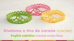 Diadema o tiara de corona tejida a crochet para bebés / English subtitle...