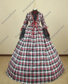 Civil War Cotton Blend Tartan Ball Gown Prom Dress Reenactment