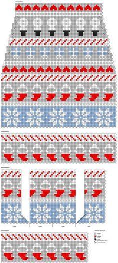 Joulusukat ohje Sweater Knitting Patterns, Knitting Charts, Lace Knitting, Knitting Stitches, Knitting Socks, Strip Rag Quilts, Kids Christmas Stockings, Knitting Quotes, Fair Isle Knitting