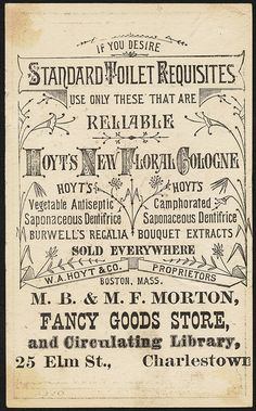 Use only Hoyt's new floral cologne [back] | Flickr - Photo Sharing!