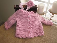 A Free Crochet Baby Clothes | Pink Sparkly Crocheted Baby Sweater Crochet Clothes
