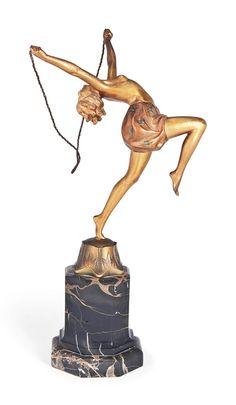'TORCH DANCER' A FERDINAND PREISS COLD-PAINTED BRONZE FIGURE - CIRCA 1925