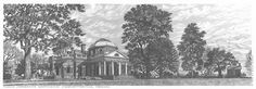"""Monticello Lithograph Print Art By Rich Ahern  On the top of a small mountain in the Virginia piedmont, Thomas Jefferson lived with his family in this home on his 5,000 acre plantation, which he designed and constructed. He named the home Monticello to mean """"Little Mountain.""""  For his entire life, Jefferson worked on Monticello to make it a perfect home, but he never finished the work due to his many pursuits. He spent most of his time away from the home because of his service abroad in…"""