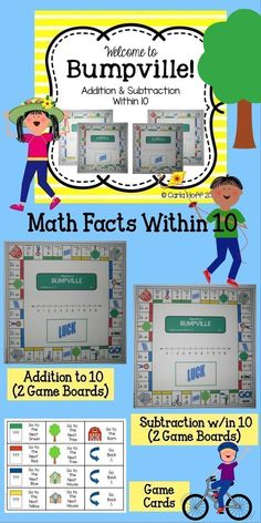 Bumpville:  Simple, math facts practice games for children working on addition and subtraction within 10.  I love that the boards have number lines--perfect for children who need this extra support!  Great for first grade centers or small groups. #firstgrademath #mathfacts #mathgames