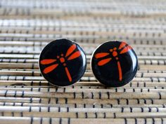 Dragonfly Ear Studs Black and Red Earrings Japanese by PrettyKiku, $9.00