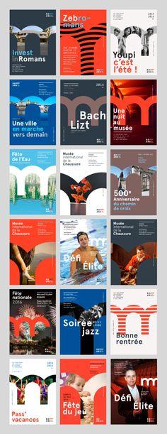 Affiches-design-branding-romans-isere  La nouvelle identité visuelle de la Ville de Romans-Sur-Isère. Sexe, ravioles et rock n' roll !  City branding Logo design Flat Minimal posters  http://www.grapheine.com/branding/identite-visuelle-de-romans-sur-isere