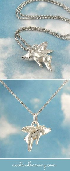 This cute pig flies through the air, with a little smile on his face because he knows anything is possible! Made of solid sterling silver.