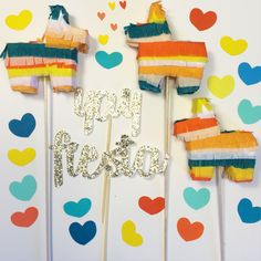 Fiesta Cake Toppers  #fiesta #pinatas #party #mexican #cake #toppers #birthday #decorations