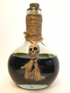 Wrap twine around bottle top. Find corks and cut down to size to avoid using modern looking lids.