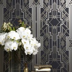 This Great Gatsby inspired, art deco wallpaper is both bold and luxurious.  This wallpaper is part of the latest collection, Metropolis, by Catherine Martin.