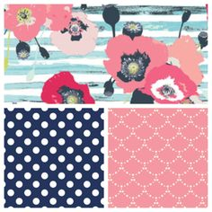 Baby Girl's Nursery Fabrics: Paparounes in Pastel, Dumb Dot in Navy, and Ripples in Rose. Perfect fabrics for a feminine but not overly girly nursery (coral, pink, navy, and teal).