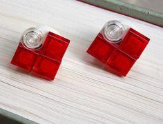 LEGO Heart Earrings Heart Earrings, Stud Earrings, Beaded Jewelry, Unique Jewelry, Legos, Beading, Rocks, Perfume Bottles, Handmade Gifts