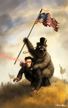 A bear riding Abraham Lincoln shooting laser beams out of his eyes.
