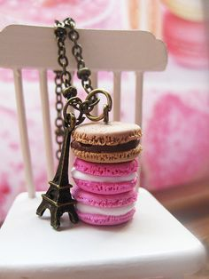 Macaroon Tower _ Shades of Pink & Caramel _ with Eiffel Tower Bronze Necklace_ Dollhouse Scale Miniature Food _ Polymer Clay by MarisAlley on Etsy Macaroon Tower, Miniature Food, Macaroons, Caramel, Polymer Clay, Scale, Miniatures, Place Card Holders, Bronze