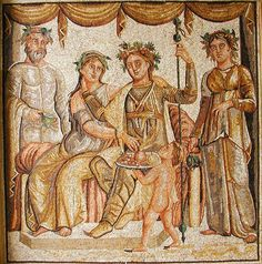 Roman mosaic representing the wedding of Ariadne, daughter of King Minos of Crete - 2nd century AD.