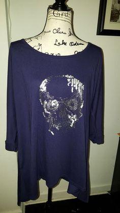 70ba9652f06 Lane Bryant 3 4 sleeve purple skull NWOT plus sizes  LaneBryant  KnitTop  Lane