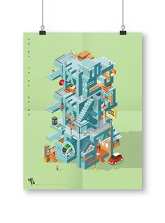 Isometric Art, Isometric Design, Graphic Artwork, Graphic Design Posters, Cute Illustration, Graphic Design Illustration, Kindergarten Design, Typography Poster, Picture Design