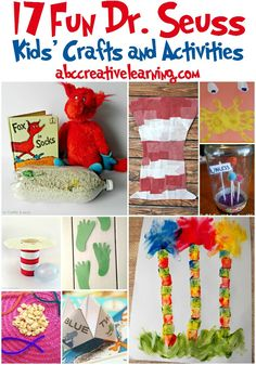 Awesome and fun Dr. Seuss Inspired Crafts and Activities for Kids! Perfect for all year long learning! - abccreativelearning.com Dr Suess, Dr Seuss Week, Dr Seuss Activities Preschool, Preschool Crafts, Activities For Kids, Reading Activities, Preschool Ideas, Teaching Ideas, Dr Seuss Crafts