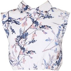 May Lennox Top (89 AUD) ❤ liked on Polyvore featuring tops, shirts, crop tops, blouses, blusas, floral print shirt, floral sleeveless top, sleeveless shirts, cotton shirts and crop shirts