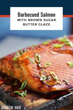 Barbecued Salmon with Brown Sugar Butter Glaze - Sweet, smoky planked salmon, the way they barbecue it in Alaska. From Steven Raichlen's Project Fire, Episode The Best BBQ You've Never Heard Of. Barbecue Recipes, Grilling Recipes, Fish Recipes, Seafood Recipes, Dinner Recipes, Seafood Bbq, Seafood Shop, Seafood Dinner, Smoker Recipes