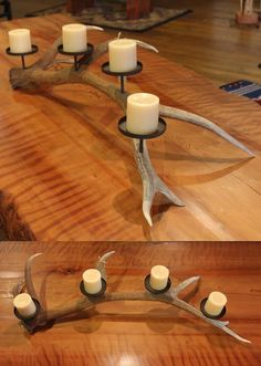 Rustic Elk Antler Candle Holder. When I visit my mother on top of the mountain looks like I will be bringing sheds back.: