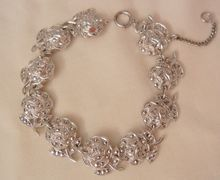 Happy Holidays! Many items Holiday sale priced with 20 to 60% off Visit my Plaza shop open till 12/31 Stunning sterling marcasite roses panel link Bracelet