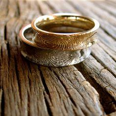 Handmade Finger Print Wedding Rings in 14K by AdziasJewelryAtelier