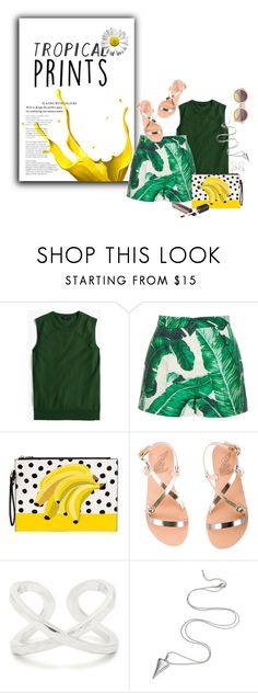"""Let's go Bananas"" by minnieromanovich ❤ liked on Polyvore featuring J.Crew, Dolce&Gabbana, Ancient Greek Sandals, Gorjana, tropicalprints and hottropics"