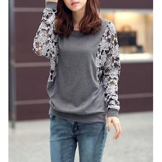 Casual Round Collar Lace Splicing Floral Pattern Batwing Sleeves Loose-Fitting T-Shirt For Women, DEEP GRAY, M in Tees & T-Shirts | DressLily.com