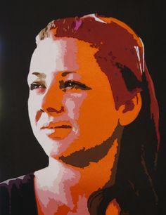 Sofie, 65 x 50 cm.  Fabric portrait made by Dorte Jensen. www.stofbilleder.dk Facebook: https://www.facebook.com/pages/Stofbilleder/298536300198776?bookmark_t=page