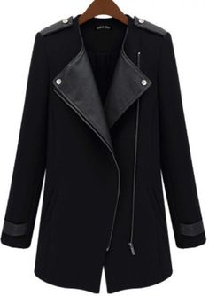 2013 New Winter/Fall High Quality Fashion Women Casual Black Contrast PU Leather Trims Oblique Zipper Coat, Free Shipping! 35.50