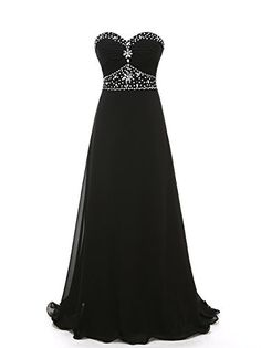 Grace Lee Womens Porm Dresses Long Beaded Sweetheart Chiffon Evening Gowns XL Black *** More info could be found at the image url. (This is an affiliate link) #WomensDresses