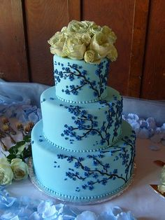 Many different examples and variations of blue cherry blossom wedding cakes. Perfect for a Spring wedding! Round three tier blue wedding ca. Wedding Cake Fresh Flowers, Round Wedding Cakes, Elegant Wedding Cakes, Wedding Cake Designs, Wedding Cake Toppers, Wedding Ideas, Wedding Stuff, Wedding Decorations, Elegant Cakes