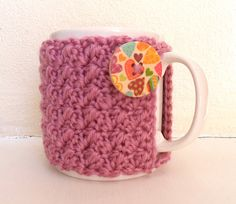 Pink Cup Cosy - Crochet Mug Cozy - wooden button. £8.00, via Etsy.