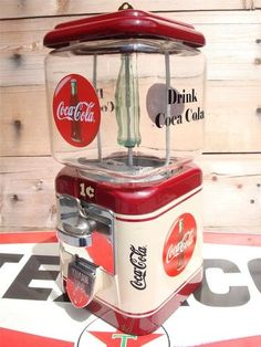 Vintage 1940's Coca Cola Gumball Candy Machine Coke Soda Jerk Sign Coin Op RARE