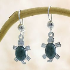 Novica Handcrafted Sterling Silver 'Marine Turtles' Jade Earrings