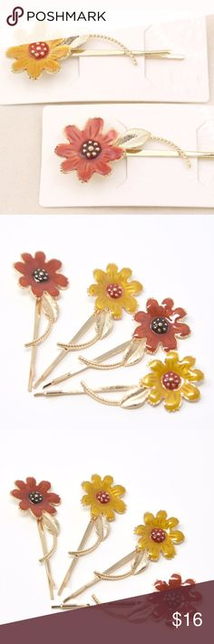 "Two Pairs of Long Daisy Flower Enamel Bobby Pins The hair clips measure approx. 3.3"".  NEW unused items.  The listing price is for all four hair clips.  You can also pick only two, same color or mismatch for $10. Accessories Hair Accessories"