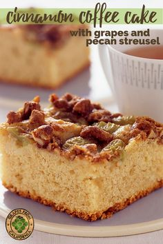 Start your morning off right with this homemade cinnamon coffee cake featuring grapes from California and a crumb streusal topping.  Warm and moist, this coffee cake recipe, made easy in a 9x13, is the best for breakfast!  #recipes #easy #recipeseasy #recipesbest #moist #homemade #best #recipesbreakfast #easybreakfast #streusel #recipesstreuseltopping #quick #9x13 #cinnamoncoffeecake #coffeecake #cinnamon #crumb #crumble #breakfast #morning Holiday Desserts, Just Desserts, Delicious Desserts, Yummy Food, Breakfast Cake, Breakfast Recipes, Dessert Recipes, Grape Recipes, Sweet Recipes