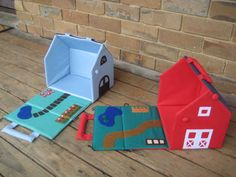 Tutorial:  Fabric Doll Houses  by Dawn The houses, or barns, are made from plywood covered with pellon and fabric. One side wall and roof op...