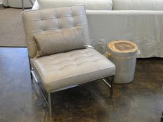 Mitchell Gold Major Leather Chair w/Stainless Steel Leg + Lincoln Side Table!