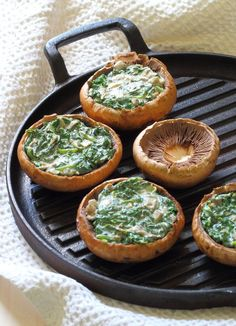 Creamy Spinach Stuffed Mushroom Recipe - Portobello mushrooms stuffed with creamy garlic spinach, then topped with grated parmesan - the perfect summer lunch!