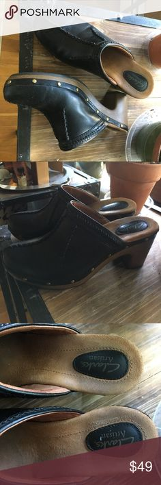 CLARKS: gorgeous heeled mules like new only worn once! size says 8.5 but i'm an 8 and they fit great! extremely comfortable insoles and beautiful black leather. any questions please ask! Clarks Shoes Mules & Clogs